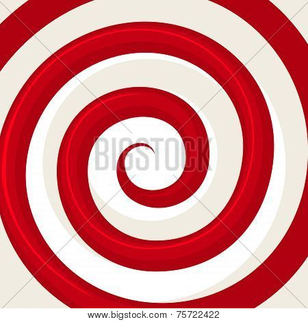 Red Hypnosis Spiral Pattern. Optical illusion. Vector illustration poster