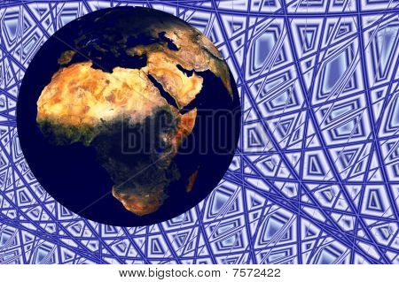 Planet earth globe illustration 3d render with background poster