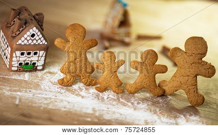 gingerbread men on the wooden floor