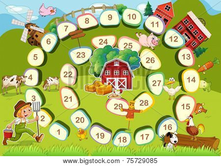 Farm themed board game with numbers