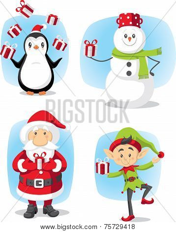Christmas Characters Set Vector Cartoon
