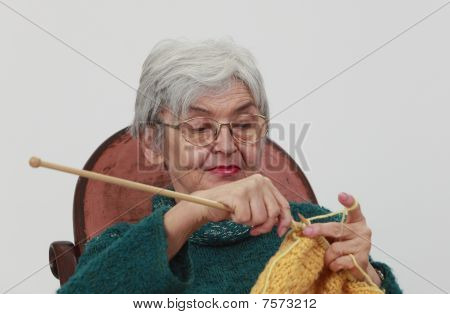 Old Woman Knitting