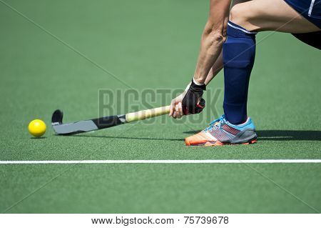 Field Hockey player, forcefully passing the ball to a tream mate poster