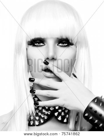 Fashion Beauty Girl. Punk Style Woman isolated on White Background. White Hair and Black Nails. Black Leather metal goth punk bracelet with Chrome Studs. Black and white portrait