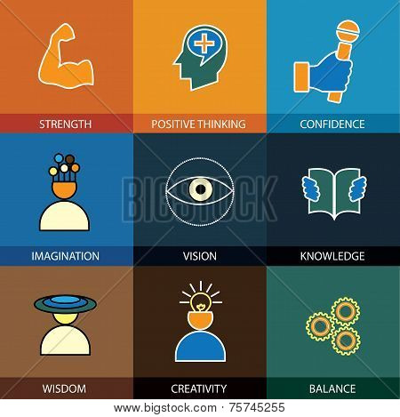 flat design line icons of wisdom knowledge imagination - concept vector. This graphic also represents intelligence vision forethought creativity idea cleverness strength positive thinking poster