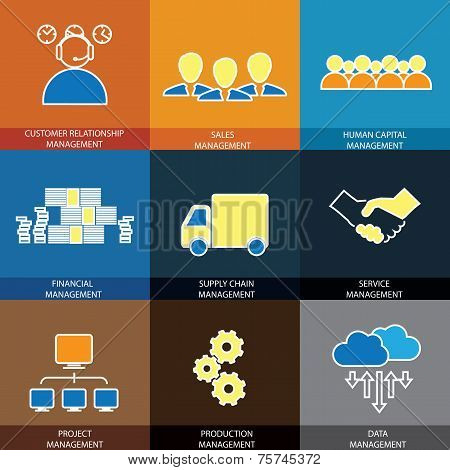 Flat Line Icons Of Management Of Finance, Sales, Service - Concept Vector.
