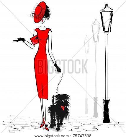 lady with black dog