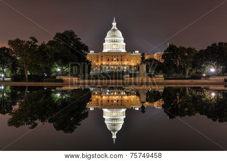 Us Capitol In Washington Dc At Night