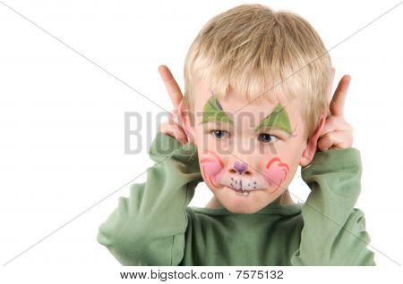 Child with his face painted as a rabbit. poster