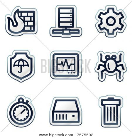 Internet segurança web ícones, série de etiqueta de contorno azul profundo