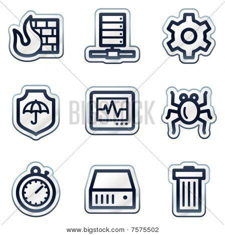 Internet security web icons, deep blue contour sticker series
