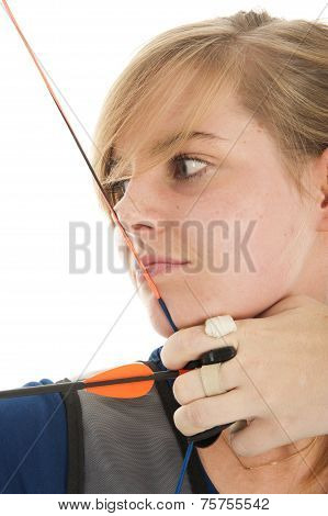 Blonde Girl Shooting With Bow An Arrow