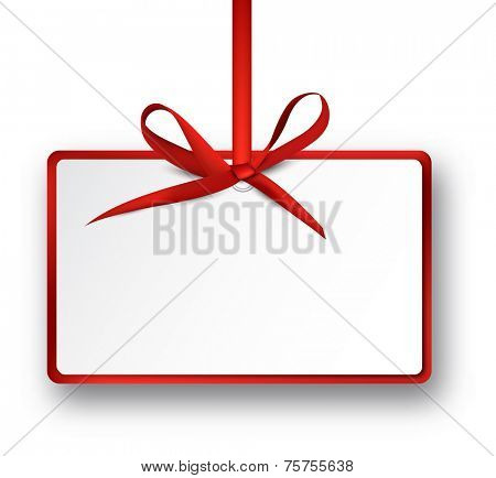Christmas rectangle gift card with red satin bow. Vector illustration.