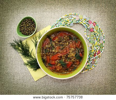 Vegetarian Soup With Tomatoes And Beans Mung.
