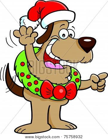 Cartoon dog wearing a Christmas wreath.