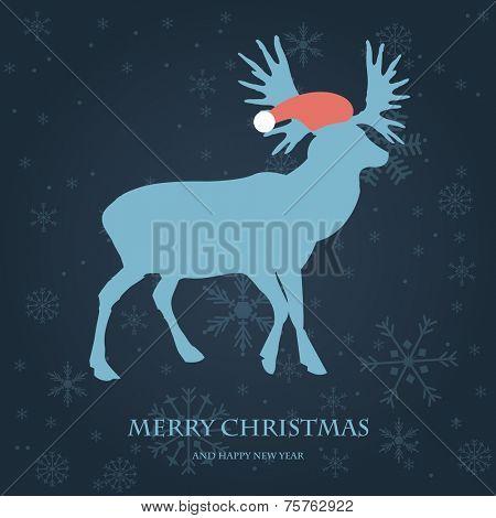 Christmas card with reindeer in Santa`s hat. Vintage vector illustration