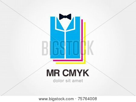 Tuxedo With Bow Tie. Creative Printing Cmyk Icon. Vector Logo Design Template