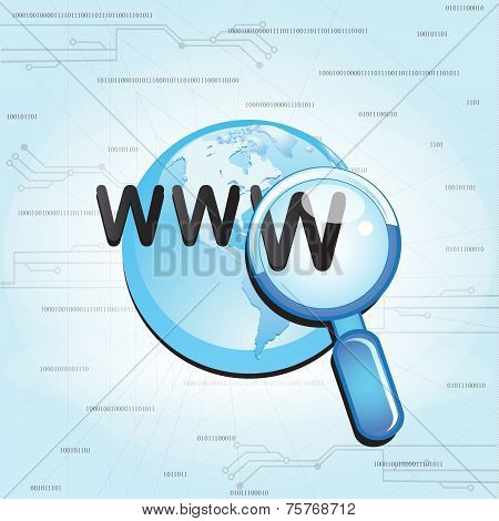 Searching the  globe internet with magnifying glass