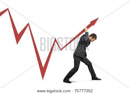 concept photo of broker supporting stock exchange. isolated on white background