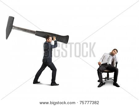 angry boss holding big hammer and screaming at lazy worker. isolated on white background