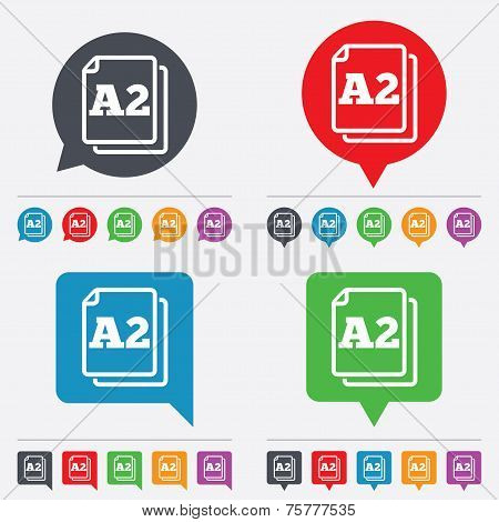 Paper size A2 standard icon. File document symbol. Speech bubbles information icons. 24 colored buttons. Vector poster