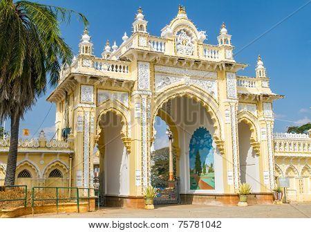 The Northern gate of the Mysore Maharaja���´s Palace. Karnataka, India