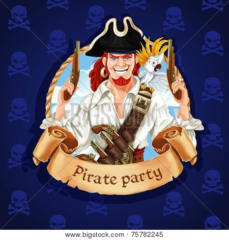 Cute Pirate With Parrot. Banner For Pirate Party