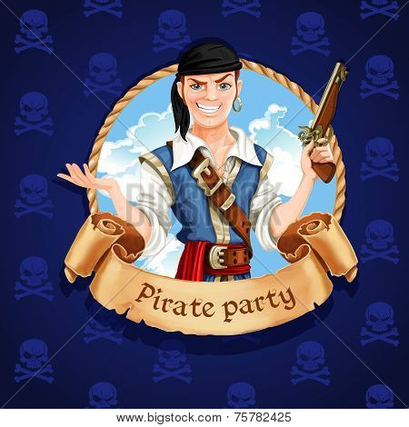 Cute Pirate. Banner For Pirate Party