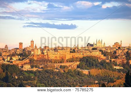 Orvieto medieval town panoramic view. Umbria Italy Europe. poster