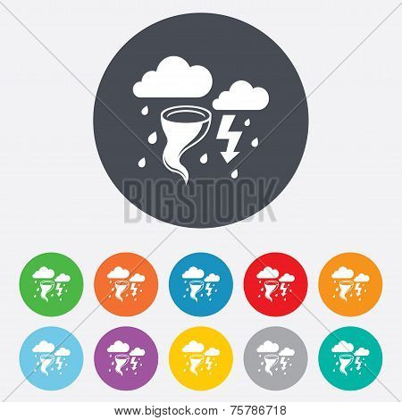 Storm bad weather sign icon. Gale hurricane.