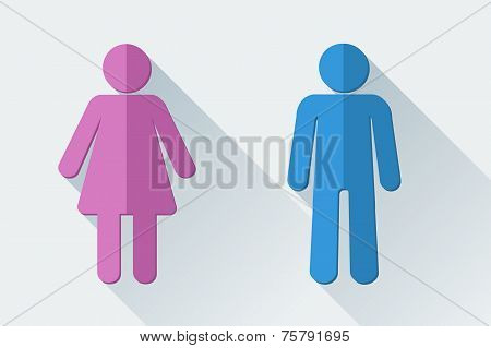 Man and woman toilet symbols in flat style