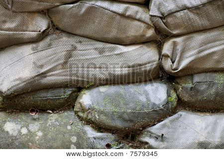 Old, Rotting Stack Of Sandbags