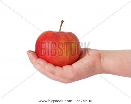 Hand Stretching An Apple