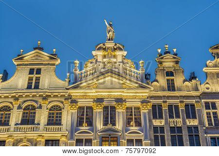 poster of Guildhalls on Grand Place (Grote Markt) the central square of Brussels it's most important tourist destination and the most memorable landmark in Brussels Belgium.