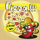 Chile Red Pepper and extra hot Pizza - vector card poster