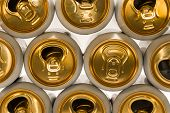 Background of aluminum cans for carbonated drinks. poster