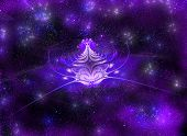 Star abstract flower on a mysterious shimmering background. Fractal art grafics poster