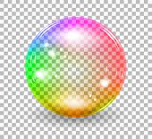 Transparent soap bubble. Vector realistic illustration on checkered background poster