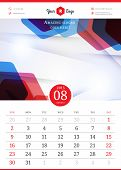 Calendar 2015. August. Vector template with abstract background. Week starts sunday poster