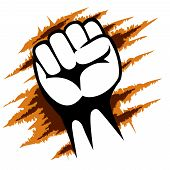 Close up Raised Fist Poster Template on Abstract Design. Emphasizing Power or Revolution poster