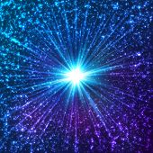 Blue shining cosmic vector stars with star dust poster