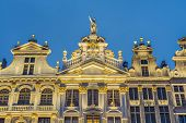 Guildhalls on Grand Place (Grote Markt) the central square of Brussels it's most important tourist destination and the most memorable landmark in Brussels Belgium. poster
