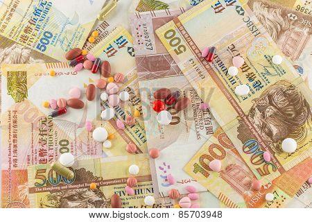 Background of closeup Hong Kong Dollar and pills medicine