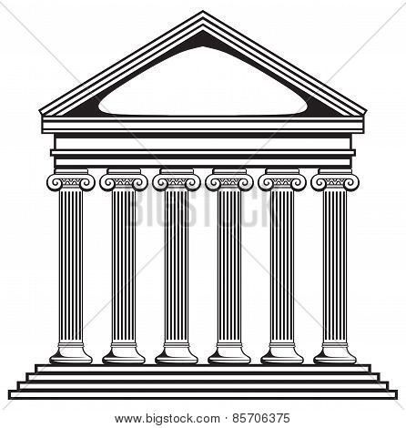 Portico an ancient temple. Bank
