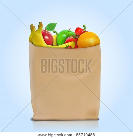natural on a paper bag full of fresh fruits. Concept of diet. Vector