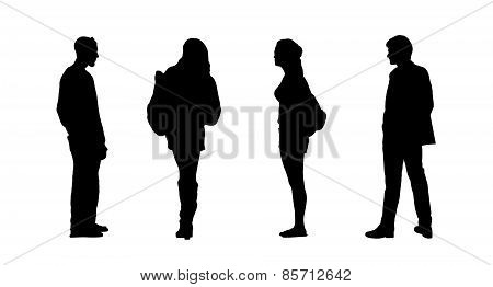 People Standing Outdoor Silhouettes Set 26