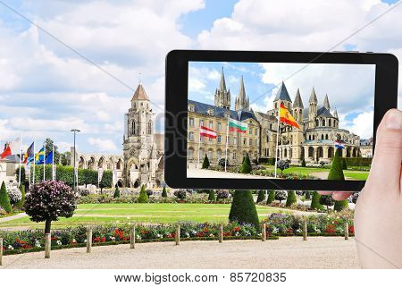 Tourist Photographs Of Church In Caen Town, France
