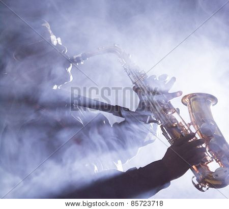 African American jazz musician playing the saxophone