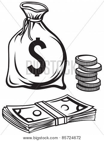Stack dollars banknotes, moneybag and coins