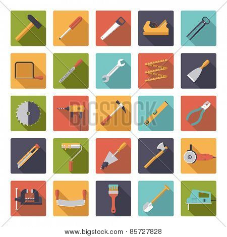 Crafting Tools Flat Design Vector Icons Collection. Set of 25 tools and crafting icons in rounded squares, flat design.